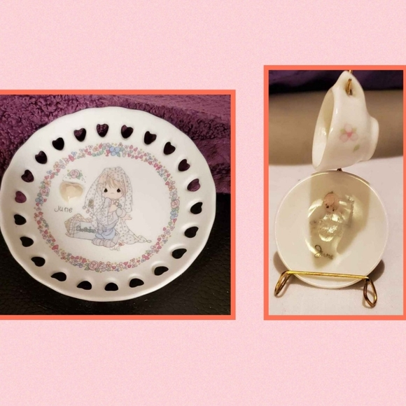 """Precious Moments """"June"""" plate, tiny plate & cup"""